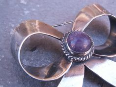 OLD Vintage Mexican Silver Amethyst Bow Brooch by TheJewelryChain, $69.00