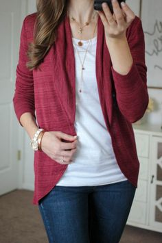 love the color and drape of this cardigan