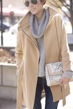 Gray and camel. That metallic clutch adds the pizzazz. Very chic and sassy.