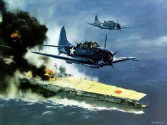 Portaaviones Akagi en Midway
