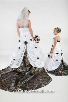 Camo wedding dress | Wedding Ideas love this could be me and my daughter