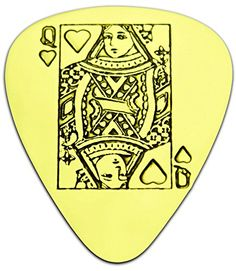 """Unique & Custom [0.38mm Thin Gauge - Traditional Style Semi Tip] Hard Luxury Guitar Pick Made of Genuine Solid Brass w/ Queen of Hearts Playing Card Suit Design """"Gold Yellow Colored"""" {Single Pick} mySimple Products"""