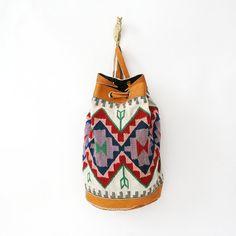 vintage southwestern large bucket backpack.