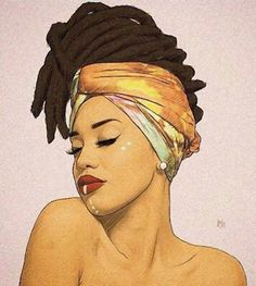 Amazing afro-american black woman with #naturalhair dreads beautiful portrait painting by unknown artist (rh or hh?). #loveart