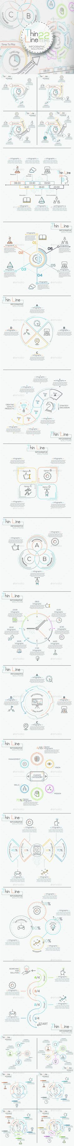 Thin Line Infographic Set Template PSD, Vector EPS, AI Illustrator. Download here: https://graphicriver.net/item/thin-line-infographic-set/16930311?ref=ksioks