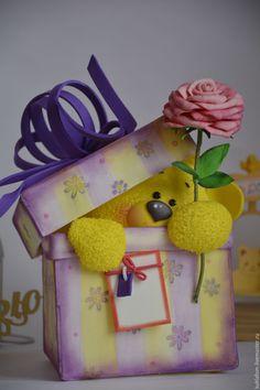 Подарок из фоамирана – купить или заказать в интернет-магазине на Ярмарке Мастеров | Подарок из фоамирана.<br /> Милый мишутка… Cool Paper Crafts, Fun Crafts For Kids, Foam Crafts, Art For Kids, Diy And Crafts, Valentine Day Love, Valentines Diy, Birthday Wishes, Happy Birthday