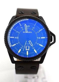 bf68a5b9dfa DIESEL MEN S DZ1718 Blue Dial Olive Leather Bracelet Blue