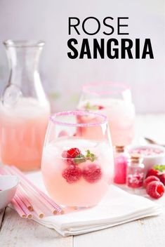 This rose sangria recipe is a twist on the classic Spanish sangria but uses rose wine, peaches and raspberries. This rose sangria recipe is a twist on the classic Spanish sangria but uses rose wine, peaches and raspberries. Red Sangria Recipes, Rose Sangria, White Wine Sangria, Sangria Drink, Raspberry Sangria, Best White Sangria Recipe, Raspberry Punch, Simple Sangria Recipe, Simple Cocktail Recipes