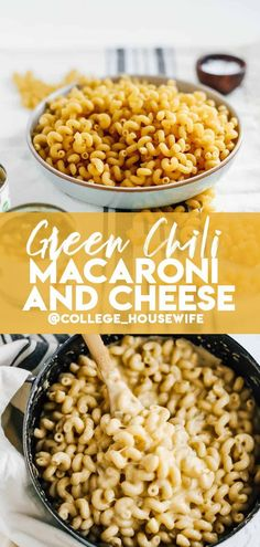 This easy Stovetop Green Chili Macaroni and Cheese is creamy and spicy thanks to two types of cheese and flecks of canned green chiles ready in 20 minutes! It's great comfort food perfect for Fall and Winter Pasta Dinner Recipes, Winter Dinner Recipes, Fall Recipes, Winter Snacks, Winter Food, Side Dishes Easy, Side Dish Recipes, Main Dishes, Cocktail Recipes For A Crowd