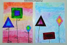 Με το βλέμμα στο νηπιαγωγείο και όχι μόνο....: Τα σχηματολούλουδά μας.Κολάζ και φύλλα εργασίας Geometry, Blog, Painting, Painting Art, Paintings, Painted Canvas, Drawings