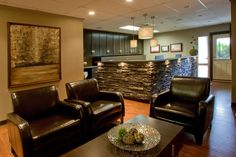 Dental office reno by Olive Tree Designs. Law Office Design, Medical Office Design, Office Interior Design, Office Interiors, Waiting Room Design, Waiting Area, Office Fit Out, Future Office, Office Ideas