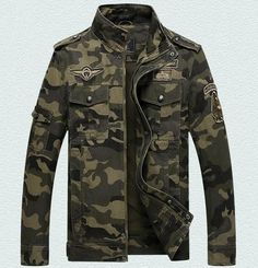 Long-Sleeve Military-Style Camouflage Mandarin-Collar Jacket M-5XL 2 Colors