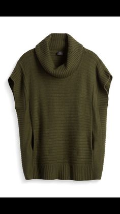 Fall fashion. Would love this layered with a striped long sleeved tee under it, skinnies and boots. Hunter green capped sleeve turtleneck poncho.