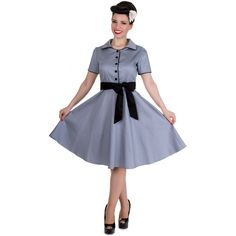 Penelope Diner Rockabilly Dress in Grey/Black