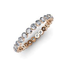 Valerie Diamond Eternity Band - Floating Diamond Eternity Band (VS2-SI1, F-G) 1.37 ct tw-1.63 ct tw in 18K Rose Gold.   TriJewels