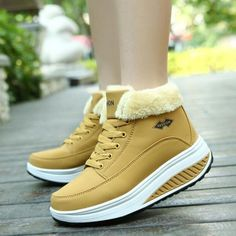 {D&H} Winter Plus Velvet Warm Women Wedge Casual Shoes Outdoor Waterproof Height Increasing Snow Boots Shoes Woman Black