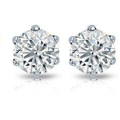 14k Gold 2ct TDW Certified Round Diamond Stud Earrings ($3,825) ❤ liked on Polyvore featuring jewelry, earrings, accessories, stud earrings, studs, white, 14 karat gold earrings, long earrings, white stud earrings and gold earrings