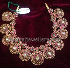 Jewellery Designs: Ruby Floral Set 197 Grams