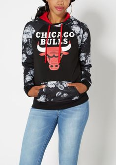 Floral Chicago Bulls Fleece Hoodie