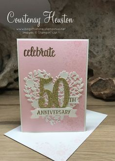 Bags That One!: Wedding Anniversary invites - Stampin' Up, Pink Pirouette, Blooming heart celebration invitation 50th Anniversary Cards, Wedding Anniversary Invitations, Printable Wedding Invitations, Invitation Ideas, Wedding Stationery, Invites, Grandparents Day Cards, Wedding Cards Handmade, Handmade Cards