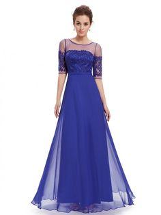 Long Sleeve Illusion Neckline Evening Dress