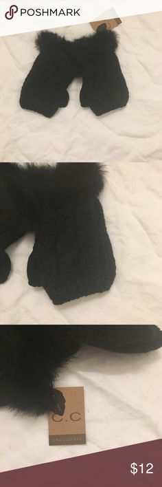 NWT Fingerless Mittens with Faux Fur Trim NWT Black Fingerless Mittens with Faux Fir Trim. C.C. Exclusives Accessories Gloves & Mittens