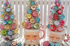 Tall Pink Santa Christmas Bottle Brush Tree Sweet Sugared Bells glass ornaments garland Shabby Chic pink bottlebrush black friday