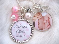 Personalized Baby Photo Pendant Keychain DIAPER Bag Accessories BABY polka dot name birth date keepsake, gift, baby shower baby bag tag on Etsy, $26.50