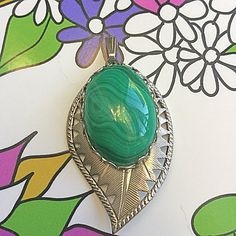 Vintage 1960's Green stone pierced leaf pendant, epsteam, silver leaf, Scentedlingerie, leaf, silver leaf pendant, green stone pendant by Scentedlingerie on Etsy
