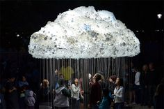 This interactive Cloud created by by artist Caitlind r.c. Brown. The Cloud is made from 1,000 working lightbulbs on pullchains and an additional 5,000 made from donated burnt out lights donated by the public. It was appeared on September 15th as part of Nuit Blanche Calgary in Alberta, Canada. Visitors to the installation could pull the chains on and off creating the flickering aesthetic of an electrical cloud.