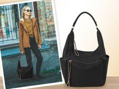 Bolso saco negro con detalle de cremalleras de FOR TIME