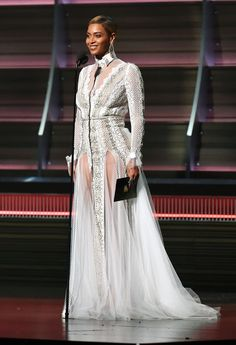 Beyonce's sheer white dress for the 2016 Grammys on Feb. 15 in L.A. was actually a wedding dress by designer Inbal Dror. Get the details here!