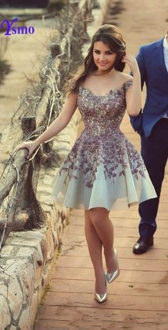 Elegant Cocktail Dress 2017 Appliques Satin Shimmering About Knee Prom Party Gowns Short Dresses Vestido De Festa Curto Cute Dresses, Beautiful Dresses, Short Dresses, Formal Dresses, Party Gowns, Party Dress, Prom Party, Short Cocktail Dress, Cocktail Dresses