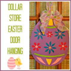 Second Chance to Dream: Dollar Store Easter Door Hanging #dollarstorem