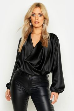 Womens Plus Satin Cowl Long Sleeve Blouse - black - 14 Hot Outfits, Night Outfits, Skirt Outfits, Fashion Outfits, Outfit Night, Kimono Fashion, Casual Outfits, Leather Pants Outfit, Black Blouse Outfit