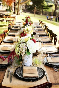 Need wedding table decor ideas? SnapKnot has compiled some visual inspiration from rustic table settings to simple and sweet. Decoration Table, Wedding Reception Decorations, Decor Wedding, Rustic Elegance, Rustic Chic, Shabby Chic, Pipe And Drape, Wedding Linens, Rustic Table