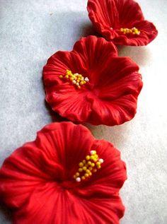 Tropical hibiscus gum paste flowers