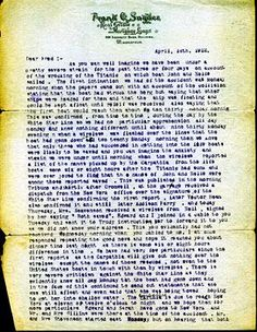 "This typed letter, dated April 18, 1912, is from John Snyder's father, Frank, to his brother, Fred, detailing the aftermath of the historic sinking of the Titanic. ""As you can imagine we have been under a pretty severe strain for the past three or four days on account of the wrecking of the Titanic on which boat John and Nelle sailed,"" the letter says in its opening sentence. (Courtesy Philip Weiss Auctions)"