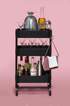 Ideas For Kitchen Bar Ikea Raskog Cart Ikea Bar Cart, Diy Bar Cart, Gold Bar Cart, Bar Cart Decor, Bar Carts, Drinks Trolley Ikea, Ikea 3 Tier Cart, Ikea Trolley, Raskog Ikea