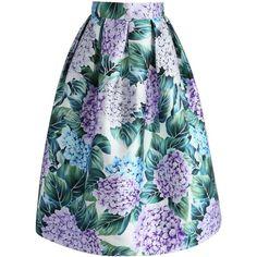 Chicwish Morning Hydrangea Printed Midi Skirt ($42) via Polyvore featuring skirts, purple, knee length a line skirt, mid calf skirts, calf length skirts, purple floral skirt and purple midi skirt