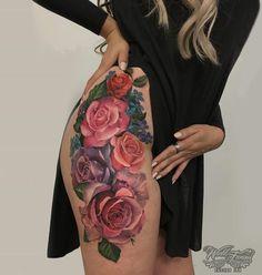 Colorful Roses Botanical Hip Tattoo
