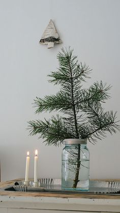 Minimal Christmas decor with mini Christmas tree in mason jar | #minimal #christmasdecor