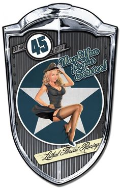 Grill Metal Sign Bomber Babe 24 x 36 Inches