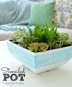 stenciled succulent garden - includes tutorial for the cute woodgrain bowl