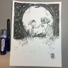 "by skottie young, 8.5x11"" cardstock Brush and ink and whiteout, $300"
