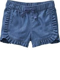 Ruffle-Trim Chambray Shorts for Baby