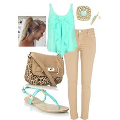 summer outfits khaki skinnies cute aqua tank, throw a cardigan over and it could be for work