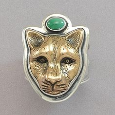 New! Tabra Bronze Jaguar and Turquoise Ring
