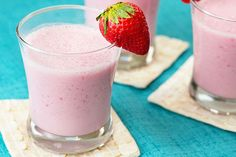 Milk, fruity drink mix and vanilla yogurt are blended with fresh-cut strawberries to make this cold and creamy smoothie.