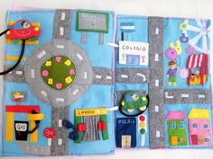 Incredible map and car page.   incredible quiet book page ideas. she has a pinterest board just for quiet books!!